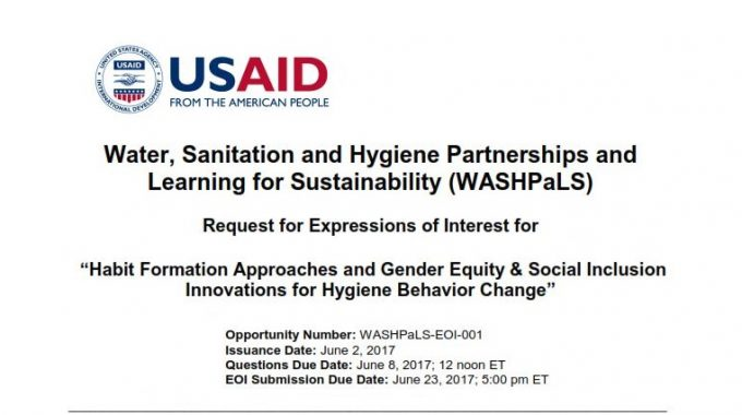 USAID WASHpaLs Grant Program: Habit Formation Approaches And Gender Equity & Social Inclusion Innovations For Hygiene Behavior Change