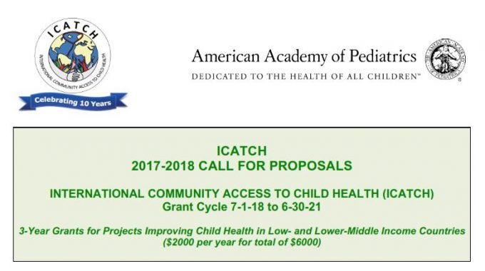 Call For Applications: ICATCH Grants For Projects Improving Child Health In Low & Lower-Middle Income Countries
