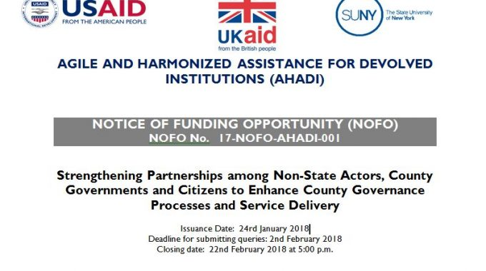 Funding Opportunity: AHADI -Strengthening Partnerships Among Non-State Actors, County Governments And Citizens To Enhance County Governance Processes And Service Delivery