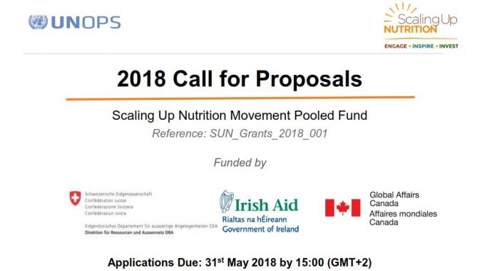 2018 Call For Proposals – Scaling Up Nutrition (SUN) Movement Pooled Fund Grants